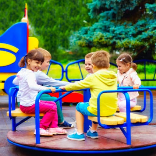 Kids on merry-go-round